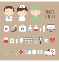 Medical and health colorful icons set design vector