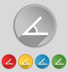 Angle 45 degrees icon sign symbol on five flat vector