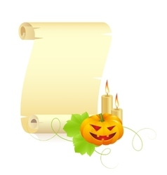 pumpkin and manuscript on a white background vector image