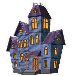 Cartoon scary house isolated on white background vector
