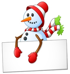 Cartoon snowman holding blank sign vector