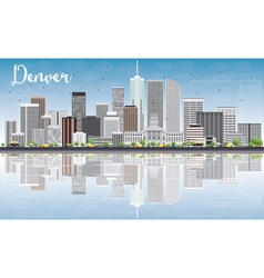 Denver skyline with gray buildings blue sky vector