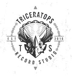 Dinosaur record studio logo template triceratops vector
