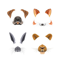 animal face video chat or selfie photo filter vector image vector image