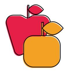apple and orange fruit fresh icon vector image