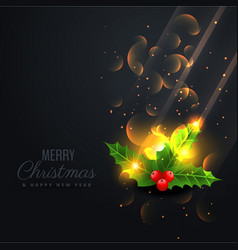 black background with beautiful shiny christmas vector image vector image