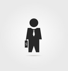 black investor icon with suitcase vector image vector image
