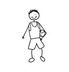 boy with sport clothes and balle vector image