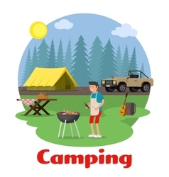Camping and outdoor recreation concept vector image