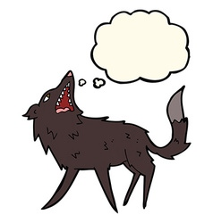 Cartoon snapping wolf with thought bubble vector