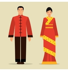 Chinese man and a woman in national costume vector