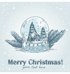 Christmas hand drawn postcard with cute glass ball vector