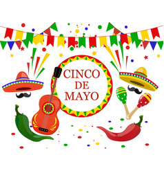Cinco de mayo inscription in the center sombrero vector