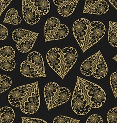 Dark and gold seamless pattern with hearts vector image vector image