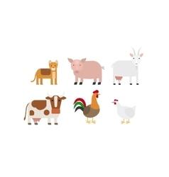 Different farm animals icons set vector