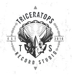 Dinosaur record studio logo template Triceratops vector image vector image