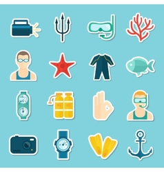 Diving Icons Set vector image