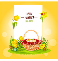 Easter egg hunt basket with flowers and copy space vector