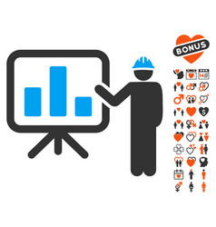 Engineer pointing chart board icon with dating vector