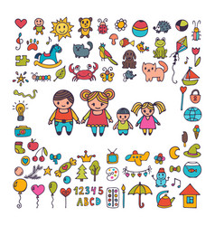 family collection of hand drawn cute doodles vector image vector image