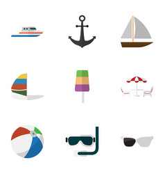 Flat icon season set of ship hook boat surfing vector