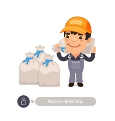 Garbage worker carrying rubbish bag vector
