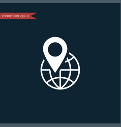 Globe location icon simple vector