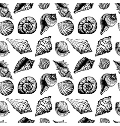 Hand drawn seamless pattern with various seashells vector