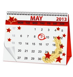 icon calendar for May 9 vector image vector image