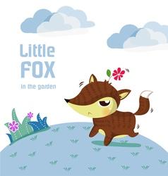 little fox lovely vector image vector image