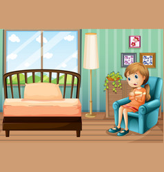 Little girl sitting in bedroom vector