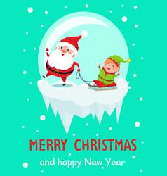 merry christmas and happy new year santa and elf vector image vector image