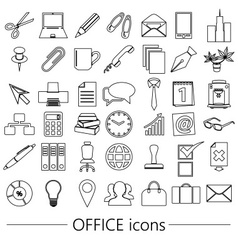 Office work theme simple outline icons collection vector