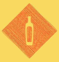 Olive oil bottle sign red scribble icon vector