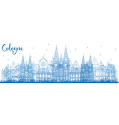 Outline cologne germany city skyline with blue vector