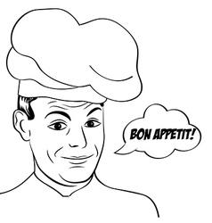 pop art man in cooker uniform vector image vector image