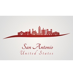 San antonio skyline in red vector
