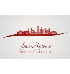 San Antonio skyline in red vector image vector image