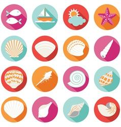 Sea Shell Flat and Summer Icons Set vector image vector image