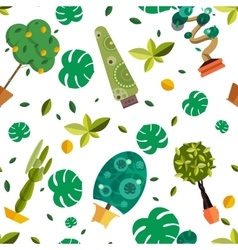 Seamless pattern with houseplants indoor and vector image