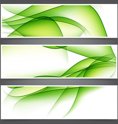 Set of abstract green banners vector