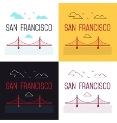 set of San Francisco Golden Gate vector image