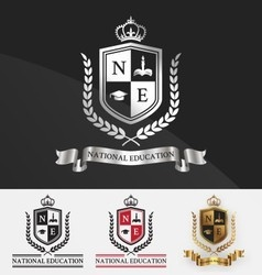 Shield and wreath laurel with crown crest logo vector