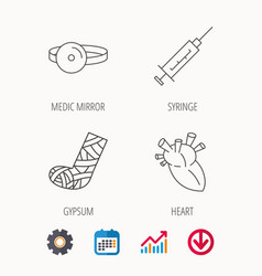 Syringe heart and gypsum icons vector