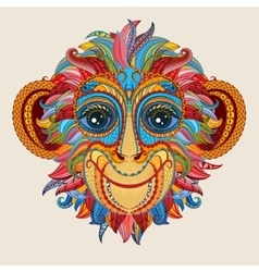Tattoo design color head of the monkey vector