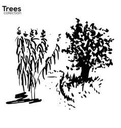 trees collection ink landscape with trees vector image