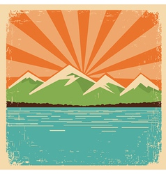 Vintage nature postermountains horizon vector