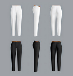 White and black womens pants realistic vector