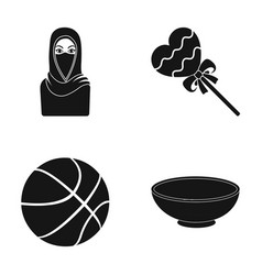 Woman muslim candy and other web icon in black vector