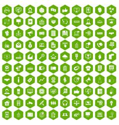 100 data exchange icons hexagon green vector